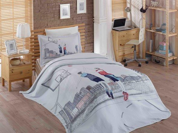 Комплект подросткового постельного белья с покрывалом Hobby Home Collection SAN-DIEGO хлопковый сатин 1,5 спальный, фото, фотография