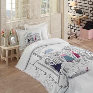 Комплект подросткового постельного белья с покрывалом Hobby Home Collection VIENNA хлопковый сатин 1,5 спальный
