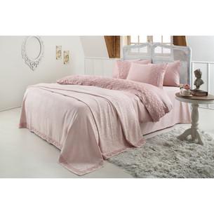 Постельное белье с покрывалом Gelin Home ESMA хлопковый сатин делюкс грязно-розовый евро