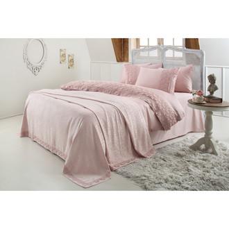 Постельное белье с покрывалом Gelin Home ESMA хлопковый сатин делюкс (грязно-розовый)