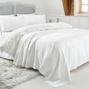 Постельное белье с покрывалом Gelin Home ESMA хлопковый сатин делюкс кремовый евро