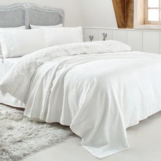 Комплект постельного белья с покрывалом Gelin Home ESMA хлопковый сатин делюкс (кремовый)