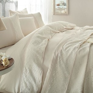 Постельное белье с покрывалом Gelin Home EVIN хлопковый сатин делюкс лиловый евро