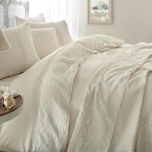 Постельное белье с покрывалом Gelin Home EVIN хлопковый сатин делюкс персиковый евро