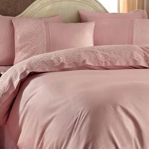 Постельное белье с покрывалом Gelin Home EVIN хлопковый сатин делюкс тёмно-розовый евро