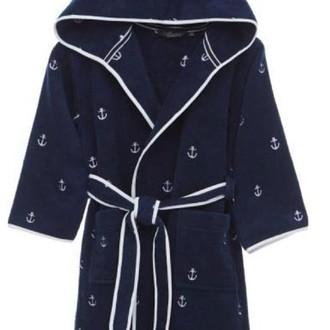Детский халат Soft Cotton MARINE хлопковая махра (синий)