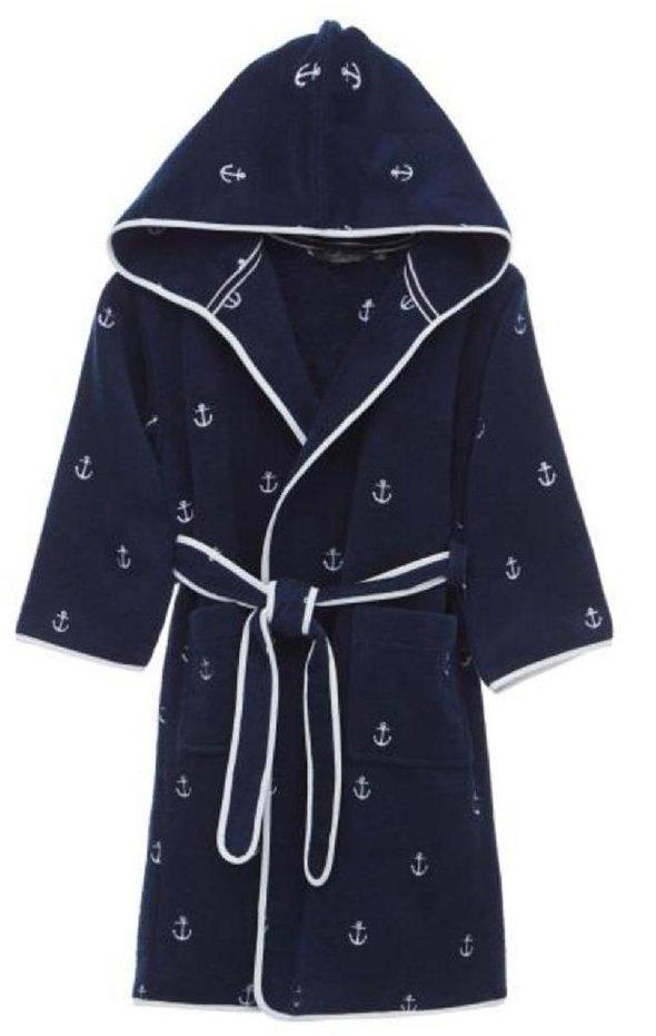 Детский халат Soft Cotton MARINE хлопковая махра (синий) 4 года, фото, фотография
