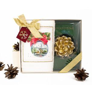 Полотенце в подарочной упаковка + свеча Tivolyo Home SNOWBELL хлопковая махра 30х50