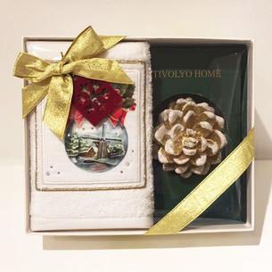 Полотенце в подарочной упаковка + свеча Tivolyo Home SNOWBALL хлопковая махра 30х50