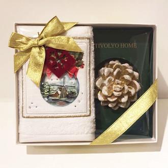 Полотенце в подарочной упаковка + свеча Tivolyo Home SNOWBALL хлопковая махра