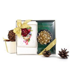 Полотенце в подарочной упаковка + свеча Tivolyo Home RIBBON хлопковая махра 30х50