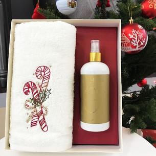 Полотенце в подарочной упаковке + спрей Tivolyo Home MERRY хлопковая махра 50х100