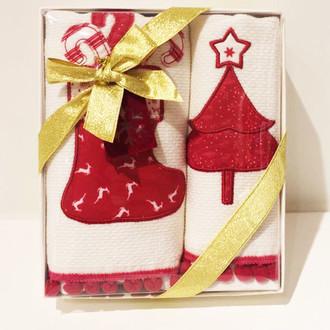 Набор кухонных полотенец в подарочной упаковке 40х60 2 шт. Tivolyo Home RED PINE хлопковая махра
