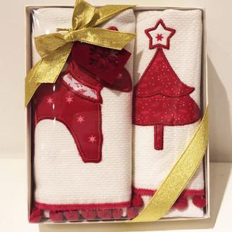 Набор кухонных полотенец в подарочной упаковке 40*60(2) Tivolyo Home RED DEER хлопковая махра