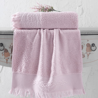 Полотенце для ванной Karna DIVA хлопковая махра (грязно-розовый)