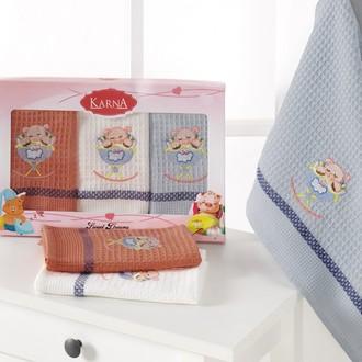 Набор кухонных полотенец 40*60(3) Karna PIGLET хлопковая вафля (V4)
