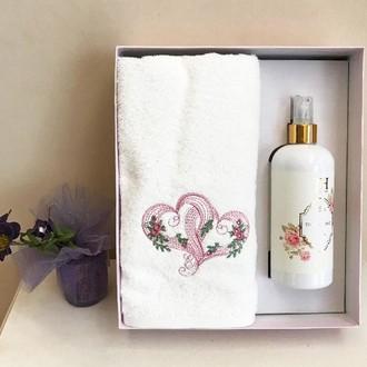 Полотенце для ванной и ароматический спрей Tivolyo Home TWIN LOVE хлопковая махра