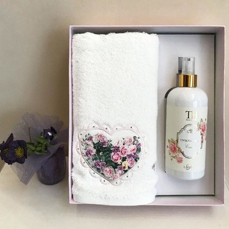 Полотенце для ванной и ароматический спрей Tivolyo Home LOVE BOUQUET хлопковая махра