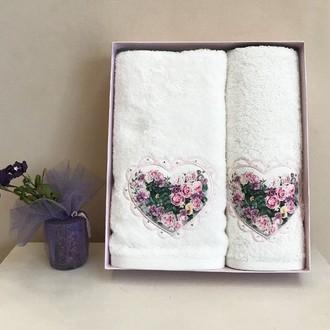 Набор полотенец для ванной 30*50, 50*100 Tivolyo Home LOVE BOUQUET хлопковая махра