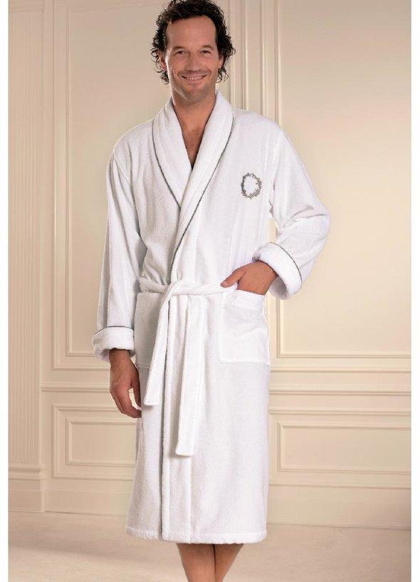 Халат мужской Soft Cotton SEHZADE хлопковая махра белый S, фото, фотография