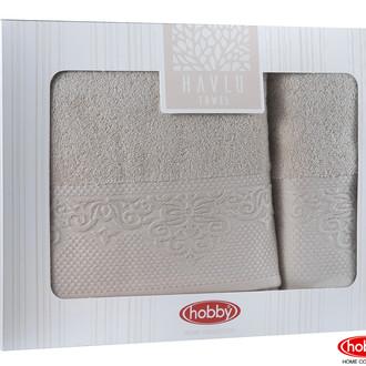 Подарочный набор полотенец для ванной 2 пр. Hobby Home Collection ALICE хлопковая махра бежевый