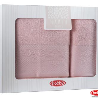 Подарочный набор полотенец для ванной 2 пр. Hobby Home Collection ALICE хлопковая махра (персиковый)