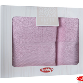Подарочный набор полотенец для ванной 2 пр. Hobby Home Collection ALICE хлопковая махра розовый