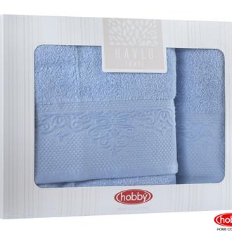 Подарочный набор полотенец для ванной 2 пр. Hobby Home Collection ALICE хлопковая махра синий