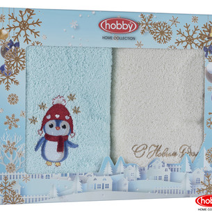 Подарочный набор полотенец для ванной 50х90 2 шт. Hobby Home Collection HAPPY NEW YEAR хлопковая махра A3