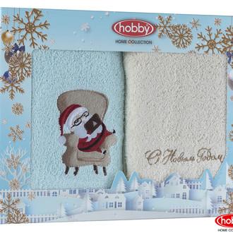 Подарочный набор полотенец для ванной 50*90 2 шт. Hobby Home Collection HAPPY NEW YEAR хлопковая махра A6