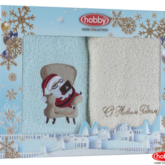 Подарочный набор полотенец для ванной 50х90 2 шт. Hobby Home Collection HAPPY NEW YEAR хлопковая махра A6