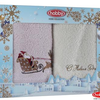 Подарочный набор полотенец для ванной 50*90(2) Hobby Home Collection HAPPY NEW YEAR хлопковая махра (A7)