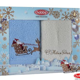 Подарочный набор полотенец для ванной 50*90(2) Hobby Home Collection HAPPY NEW YEAR хлопковая махра (A8)