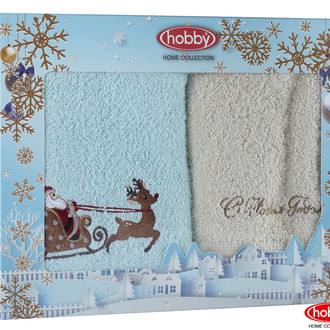 Подарочный набор полотенец для ванной 50х90 2 шт. Hobby Home Collection HAPPY NEW YEAR хлопковая махра A9