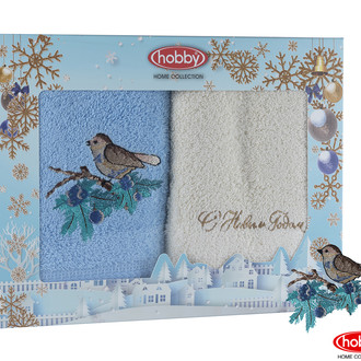 Подарочный набор полотенец для ванной 50х90 2 шт. Hobby Home Collection HAPPY NEW YEAR хлопковая махра A11