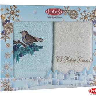 Подарочный набор полотенец для ванной 50х90 2 шт. Hobby Home Collection HAPPY NEW YEAR хлопковая махра A12