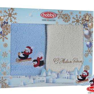 Подарочный набор полотенец для ванной 50*90(2) Hobby Home Collection HAPPY NEW YEAR хлопковая махра (A14)