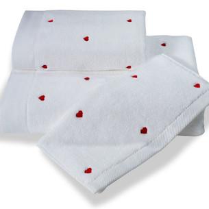 Набор полотенец для ванной 3 пр. Soft Cotton LOVE хлопковый микрокоттон красный