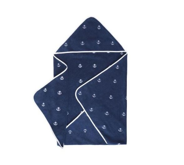 Полотенце-уголок для новорожденных Soft Cotton MARINE хлопковая махра (синий) 80*80, фото, фотография