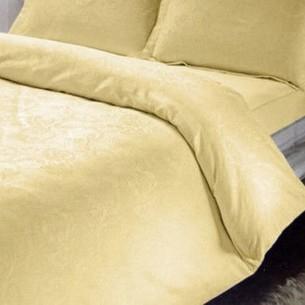 Постельное белье TAC LUX KAROIS хлопковый сатин-жаккард делюкс золотистый евро