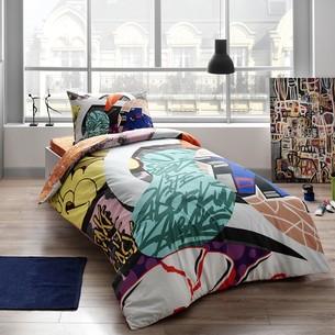 Комплект подросткового постельного белья TAC EASY хлопковый ранфорс зелёный 1,5 спальный