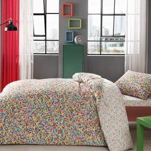 Комплект подросткового постельного белья TAC SKULL хлопковый ранфорс жёлтый 1,5 спальный