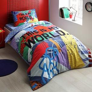 Комплект подросткового постельного белья TAC MY WORLD хлопковый ранфорс голубой 1,5 спальный