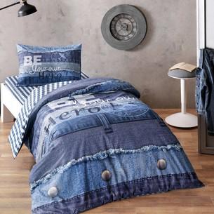 Комплект подросткового постельного белья TAC ENJOY хлопковый ранфорс синий 1,5 спальный