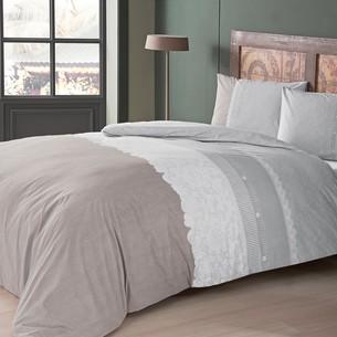 Постельное белье TAC HAPPY DAYS MARLIE хлопковый ранфорс серый 1,5 спальный