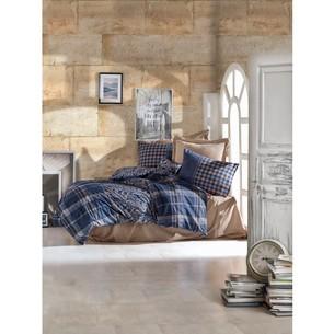 Постельное белье Cotton Box MASCULINE SILVIO хлопковый ранфорс бежевый+синий евро