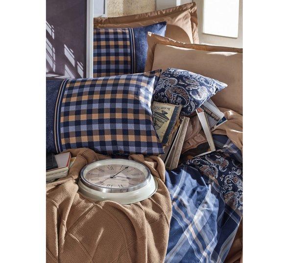 Постельное белье Cotton Box MASCULINE SILVIO хлопковый ранфорс бежевый+синий евро, фото, фотография