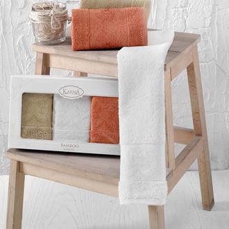 Набор полотенец кухонных в подарочной упаковке 30*50 3 шт. Karna PANDORA махра бамбук V3