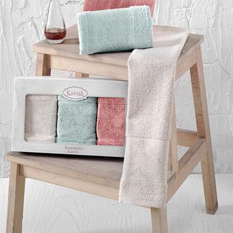 Набор полотенец кухонных в подарочной упаковке 30*50(3) Karna PANDORA махра бамбук (V4)