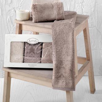 Набор полотенец кухонных в подарочной упаковке 30*50(3) Karna PANDORA махра бамбук (V5)